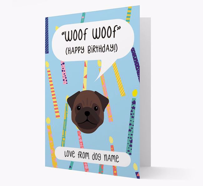 Personalised 'Woof Woof' Birthday Card with Pug Icon