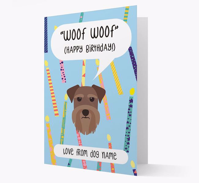 Personalised 'Woof Woof' Birthday Card with Schnauzer Icon