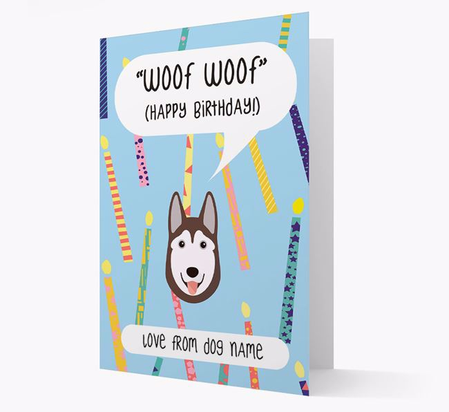 Personalized 'Woof Woof' Birthday Card with Siberian Husky Icon