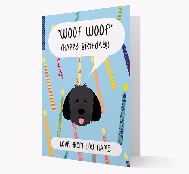Personalized 'Woof Woof' Birthday Card with Dog Icon