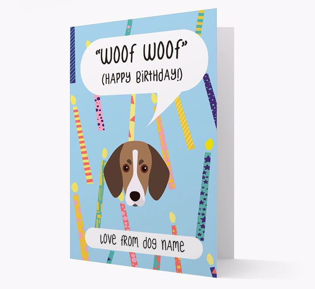 Personalized 'Woof Woof' Birthday Card with Trailhound Icon