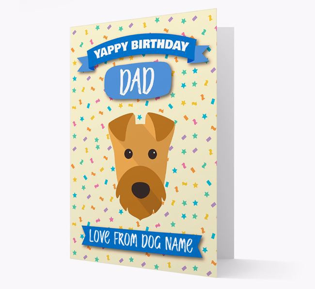 Personalised Card 'Yappy Birthday Dad' with Airedale Icon