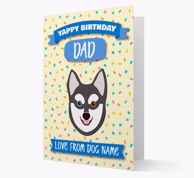 Personalized Card 'Yappy Birthday Dad' with Alaskan Klee Kai Icon