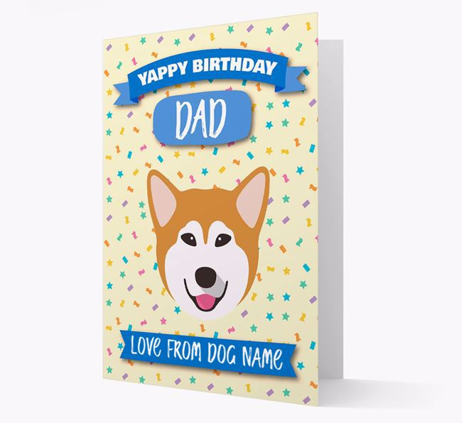 Personalised Card 'Yappy Birthday Dad' with Malamute Icon