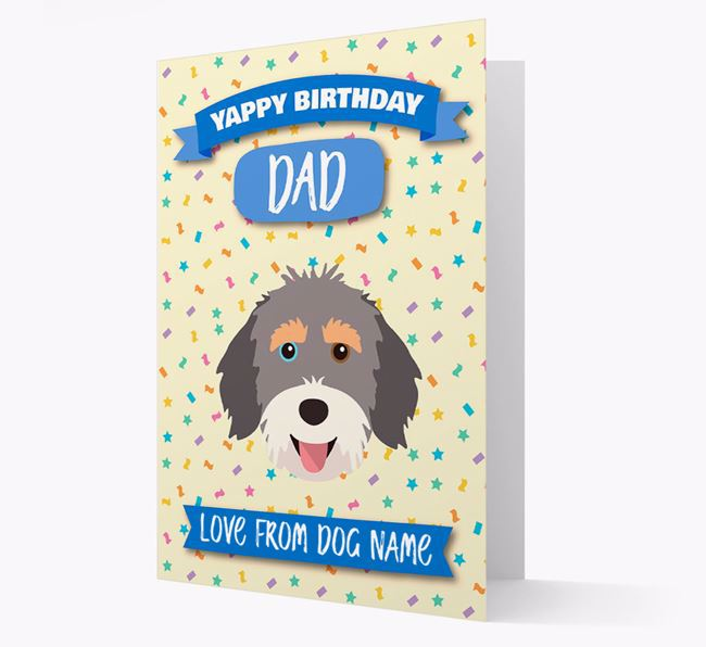 Personalised Card 'Yappy Birthday Dad' with Aussiedoodle Icon
