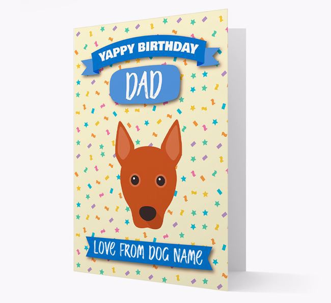 Personalised Card 'Yappy Birthday Dad' with Basenji Icon