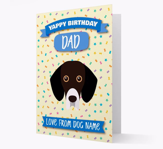 Personalised Card 'Yappy Birthday Dad' with Bassador Icon