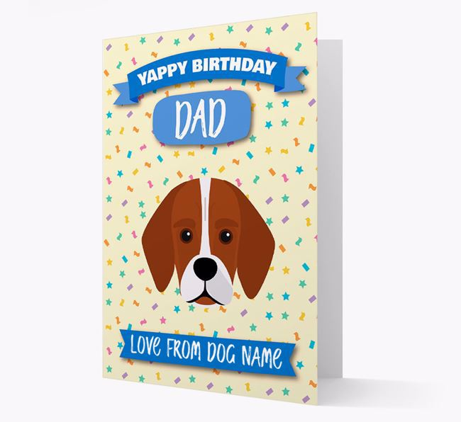 Personalised Card 'Yappy Birthday Dad' with Bassugg Icon