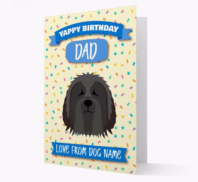 Personalized Card 'Yappy Birthday Dad' with Bearded Collie Icon