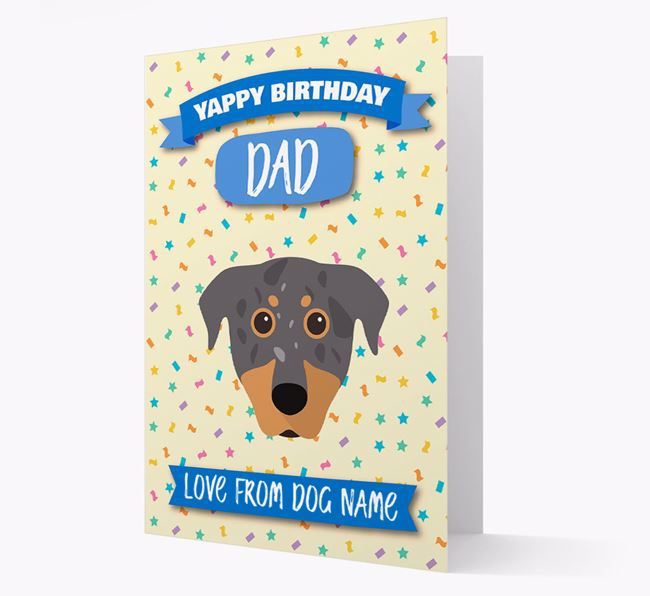 Personalised Card 'Yappy Birthday Dad' with Beauceron Icon