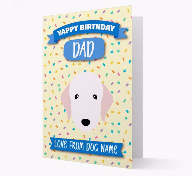 Personalised Card 'Yappy Birthday Dad' with Bedlington Icon