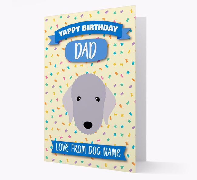 Personalized Card 'Yappy Birthday Dad' with Bedlington Icon