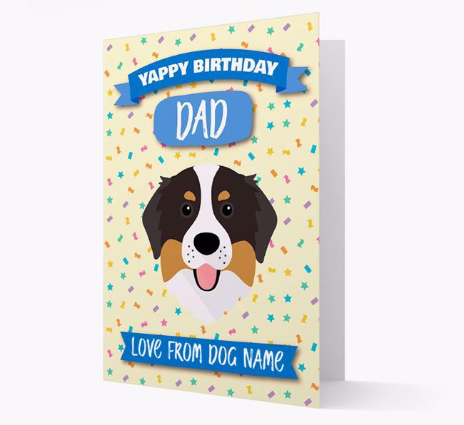 Personalized Card 'Yappy Birthday Dad' with Bernese Icon