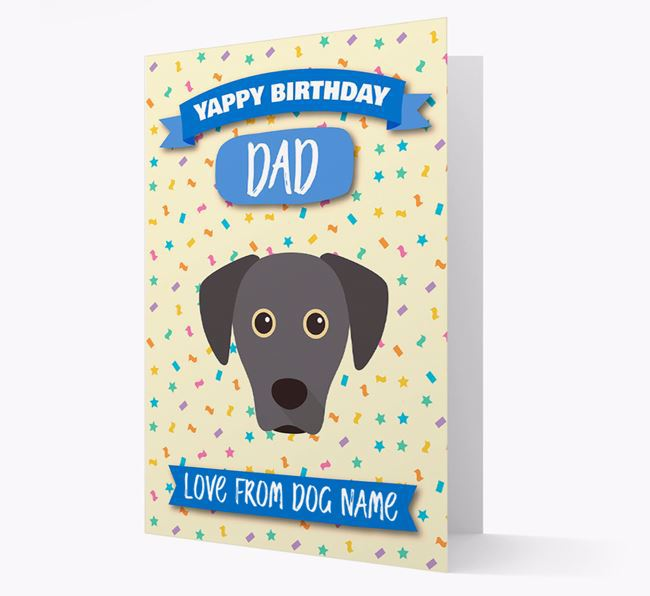 Personalized Card 'Yappy Birthday Dad' with Blue Lacy Icon