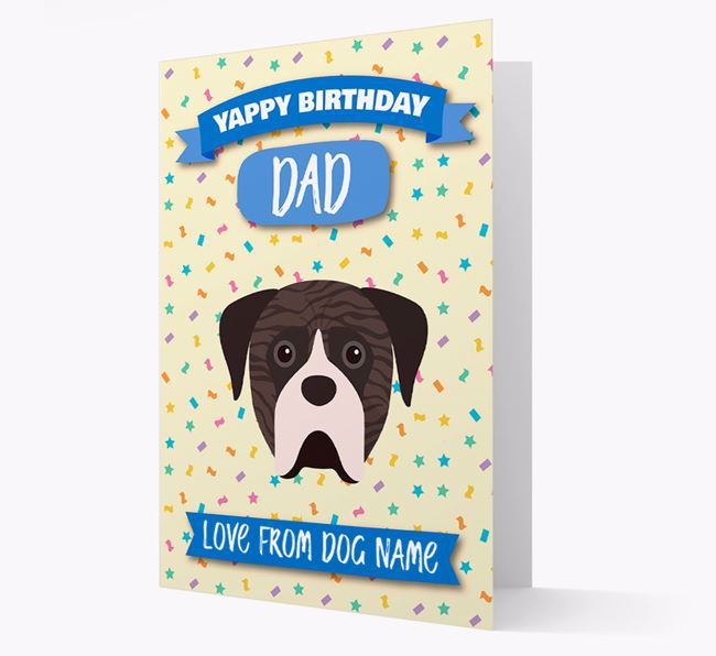 Personalised Card 'Yappy Birthday Dad' with Boerboel Icon