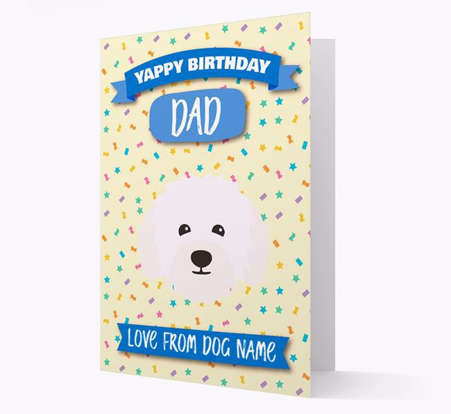 Personalised Card 'Yappy Birthday Dad' with Bolognese Icon