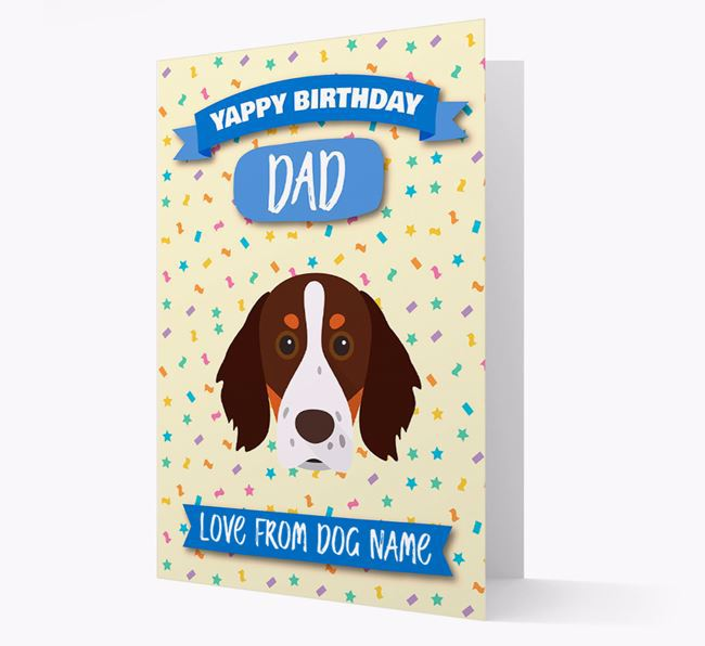 Personalised Card 'Yappy Birthday Dad' with Brittany Spaniel Icon