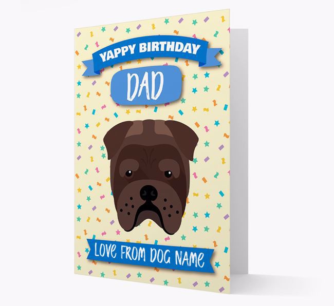 Personalized Card 'Yappy Birthday Dad' with Bull Pei Icon