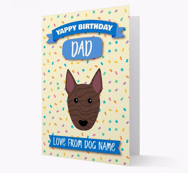 Personalised Card 'Yappy Birthday Dad' with Bull Terrier Icon