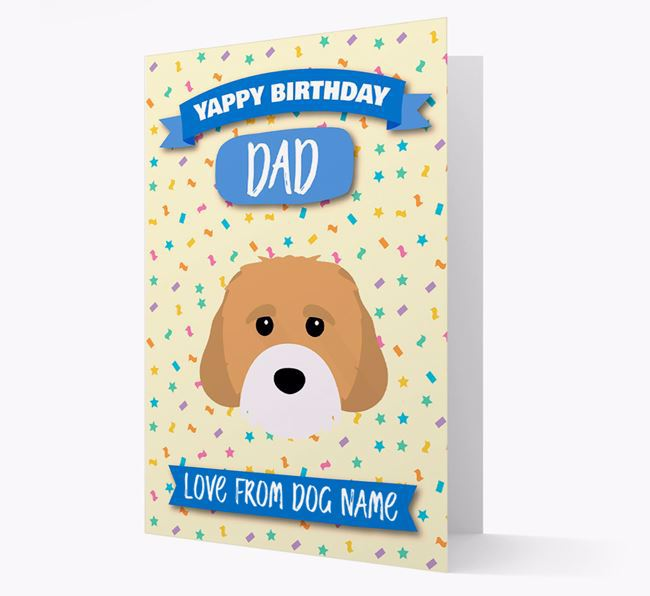 Personalised Card 'Yappy Birthday Dad' with Cavachon Icon