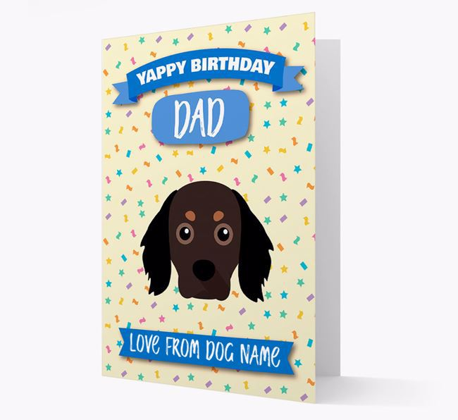 Personalised Card 'Yappy Birthday Dad' with Cavapom Icon