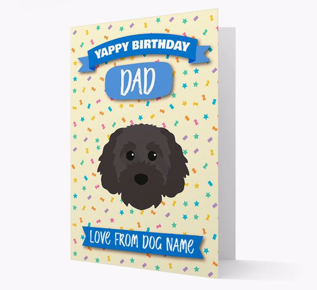Personalized Card 'Yappy Birthday Dad' with Cavapoochon Icon