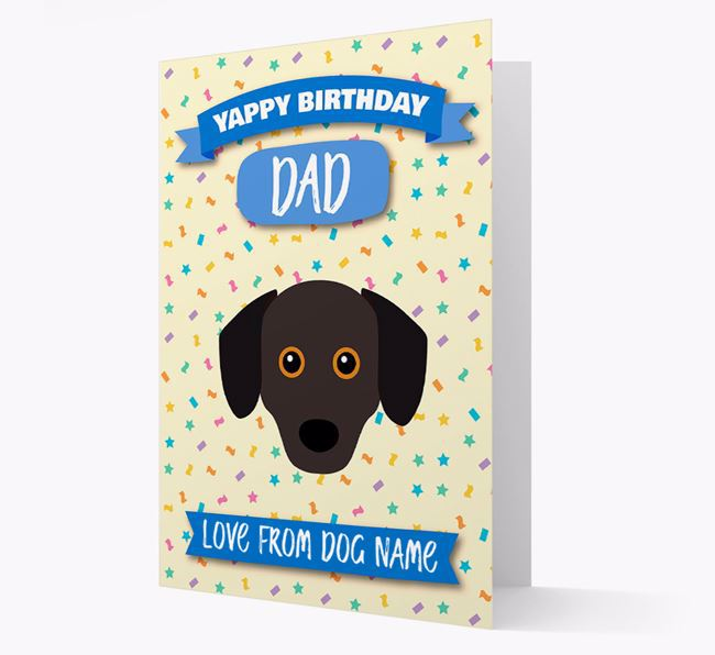Personalised Card 'Yappy Birthday Dad' with Chiweenie Icon