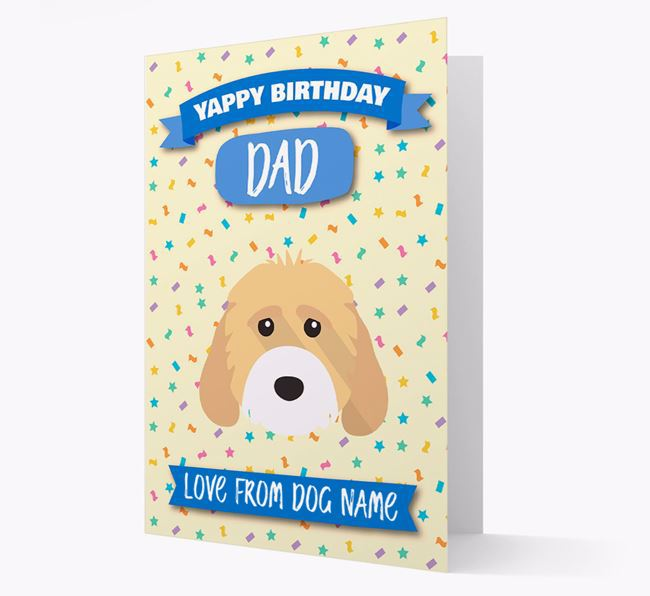 Personalized Card 'Yappy Birthday Dad' with Cockapoo Icon