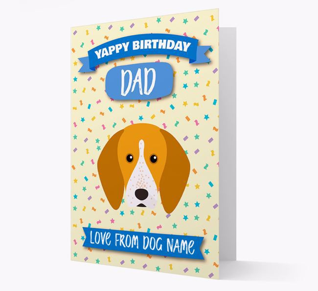 Personalised Card 'Yappy Birthday Dad' with English Coonhound Icon
