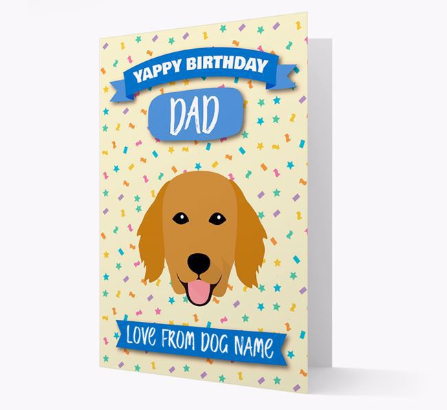 Personalized Card 'Yappy Birthday Dad' with Flatcoat Icon