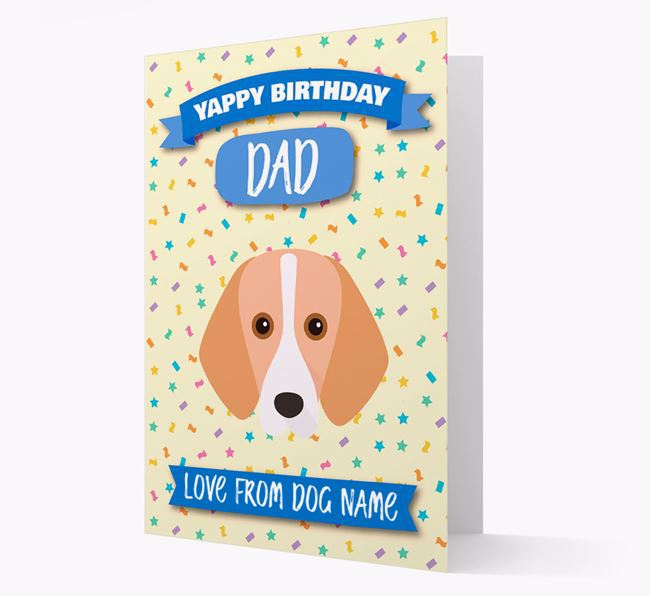 Personalised Card 'Yappy Birthday Dad' with Foxhound Icon