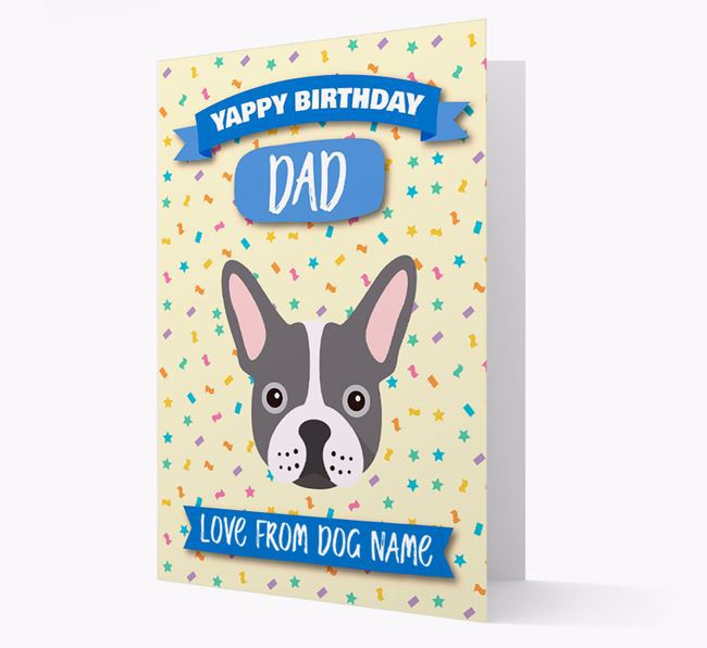 Personalized Card 'Yappy Birthday Dad' with Frenchie Icon