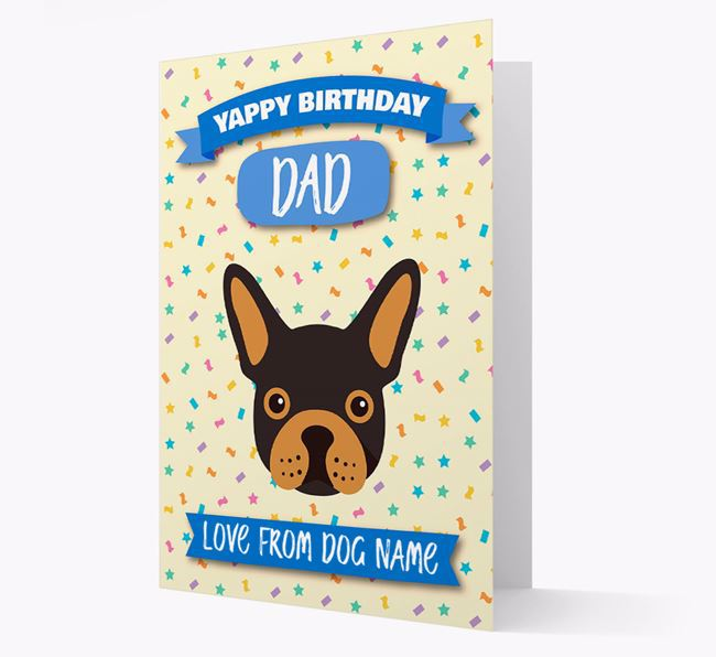 Personalised Card 'Yappy Birthday Dad' with Frenchie Icon