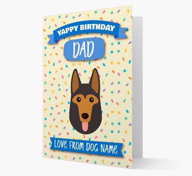 Personalised Card 'Yappy Birthday Dad' with German Shepherd Icon