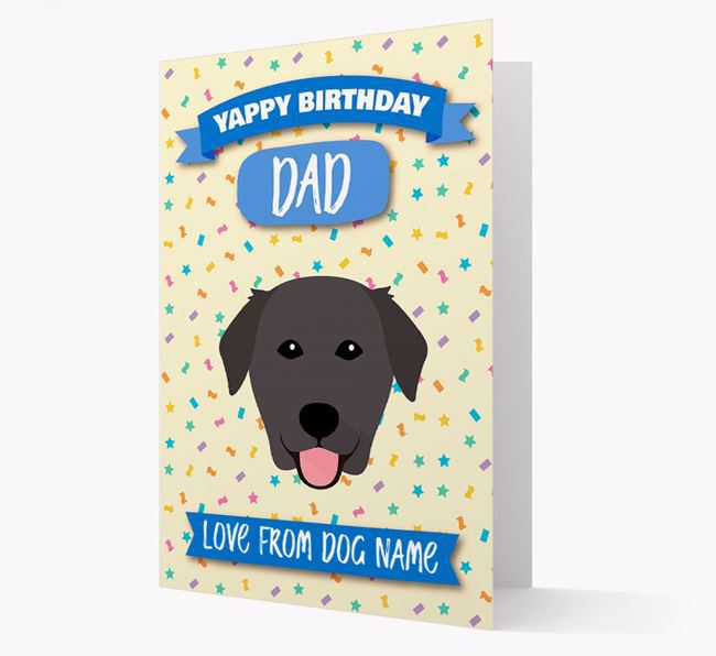 Personalized Card 'Yappy Birthday Dad' with Golden Lab Icon