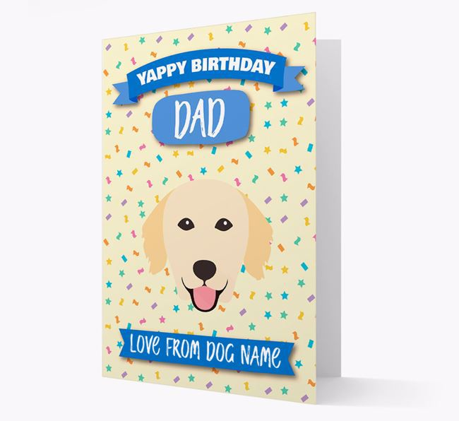 Personalized Card 'Yappy Birthday Dad' with Golden Retriever Icon