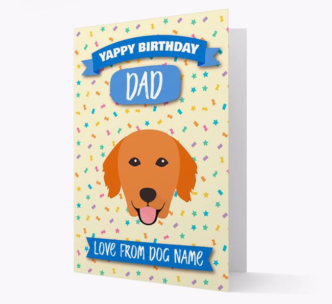 Personalised Card 'Yappy Birthday Dad' with Golden Retriever Icon
