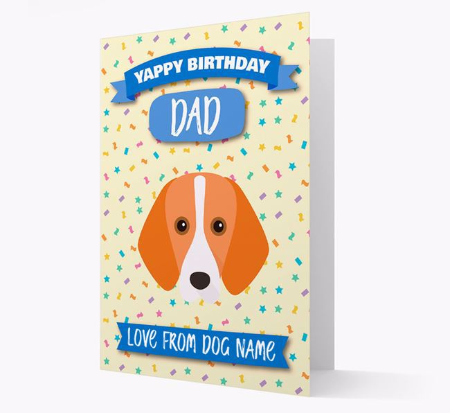 Personalized Card 'Yappy Birthday Dad' with Harrier Icon