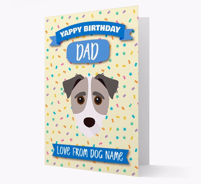 Personalised Card 'Yappy Birthday Dad' with Jack-a-Poo Icon