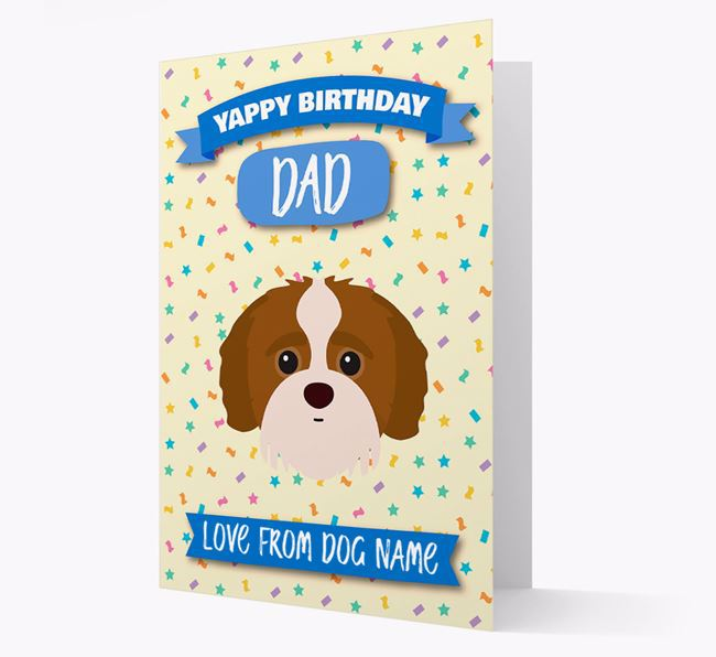 Personalized Card 'Yappy Birthday Dad' with Jack-a-Poo Icon