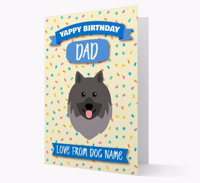 Personalized Card 'Yappy Birthday Dad' with Keeshond Icon