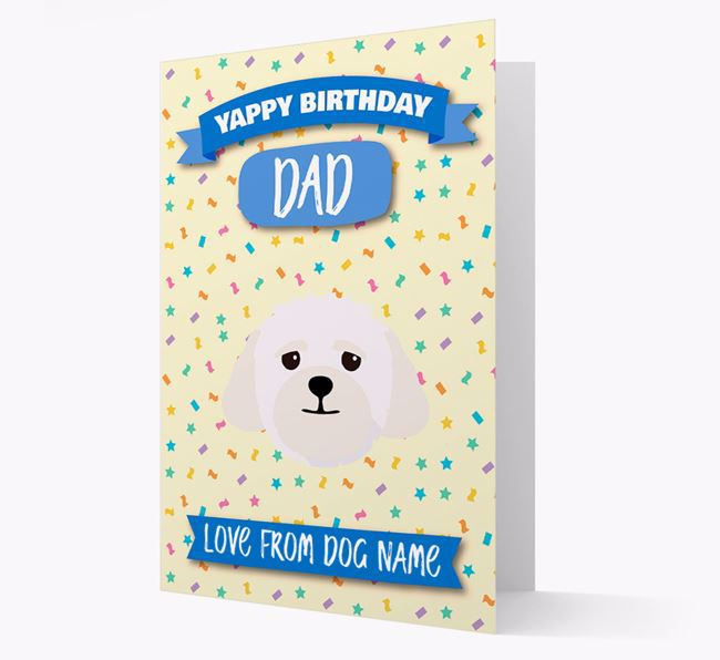 Personalized Card 'Yappy Birthday Dad' with Lhasapoo Icon