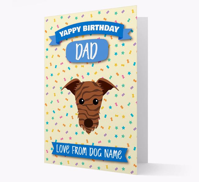 Personalized Card 'Yappy Birthday Dad' with Lurcher Icon