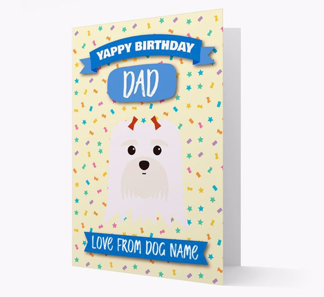 Personalized Card 'Yappy Birthday Dad' with Maltese Icon