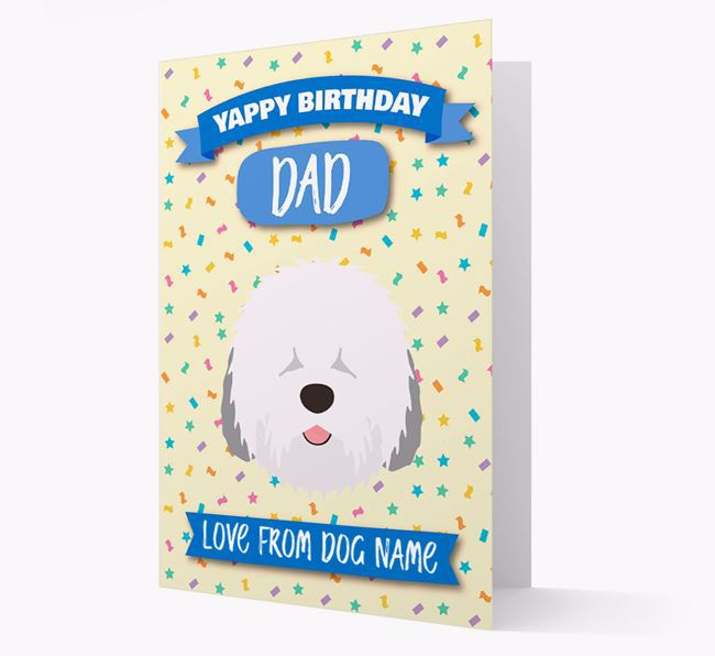 Personalized Card 'Yappy Birthday Dad' with Sheepdog Icon