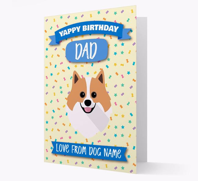 Personalised Card 'Yappy Birthday Dad' with Pomeranian Icon