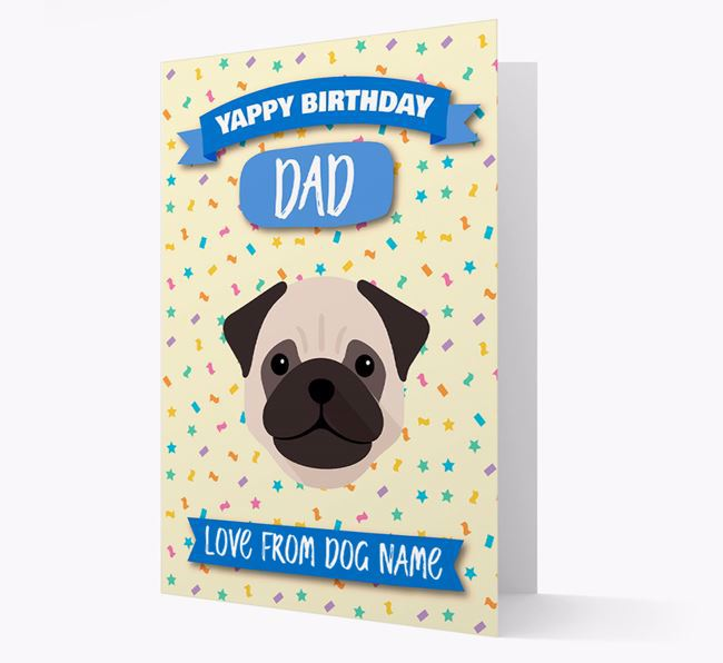 Personalized Card 'Yappy Birthday Dad' with Pug Icon