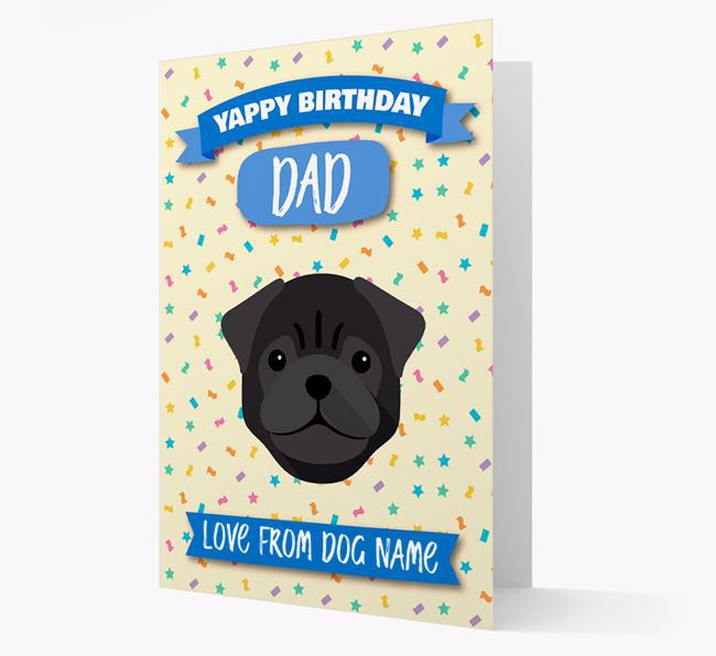 Personalised Card 'Yappy Birthday Dad' with Pug Icon