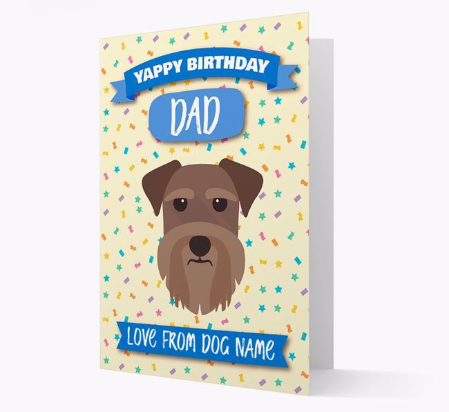 Personalised Card 'Yappy Birthday Dad' with Schnauzer Icon