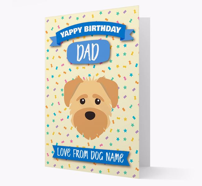 Personalized Card 'Yappy Birthday Dad' with Schnoodle Icon